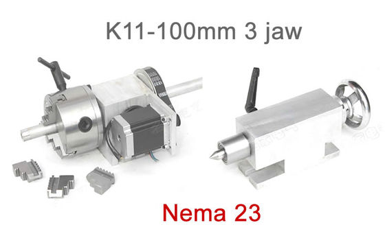 K11-100mm Chuck 3 Jaw CNC 4th Axis Hollow Shaft CNC Dividing Head For CNC Router