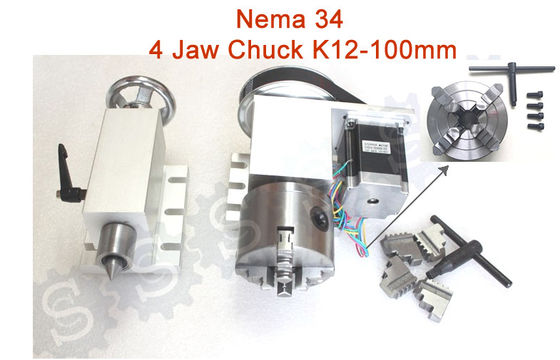 Nema 34 ( 4:1 )  4 Jaw Chuck K12-100mm CNC 4th Axis Kit CNC Dividing Head